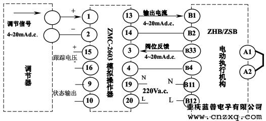 zhb/zsb电动执行器电气接线示例-连续调节
